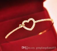 fashion bangles rhinestones - New Jewelry Fashion Charm Gold Crystal Rhinestone Heart Cuff Bangle Bracelet