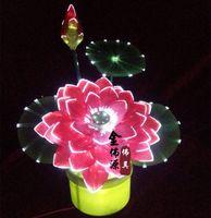 Wholesale Golden Buddha red diamond fiber source lotus lantern lotus lanterns to worship Buddha Buddha headlights of a product large lotus