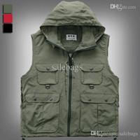 Wholesale Fashion men women photography hooded vest jacket detachable cap fishing waistcoat work clothes red black WM0015 salebags