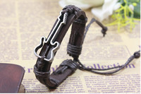 beaded guitar - New Fashion Guitar bracelet black and brown woven leather bracelet best gift