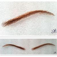 Estilo de las mujeres del envío el 100% del pelo humano falsas cejas al por mayor-libre con cordón cubo en busca de color marrón extensión de pestañas handmad