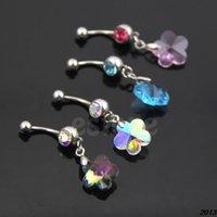 aqua blossom - A24 Plum Blossom Dangle Multicolor Rhinestone Belly Button Ring Navel Body Jewelry