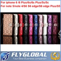 Cheap Bright leather embossing iphone 6s case luxury fold wallet card sets of iphone 6 6s plus note 5 4 S6 edge Plus S5 women flip the iphone