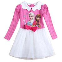 cotton dress materials - Rose Red Frozen Childrens Dresses for Little Girls Attractive Patchwork Kids Dresses Cotton Material Doll Collar Sale H5575