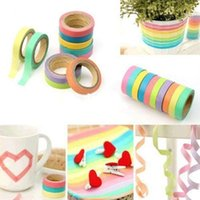 Wholesale Fashion Hot Rainbow Washi Sticky Paper Masking Adhesive Scrapbooking Decorative DIY Tape