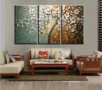 Cheap 3 panel abstract wall art cheap modern handmade tree peacock picture canvas oil painting sets for living room office decoration