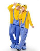 Wholesale 2014 New Cartoon Minion Cosplay Pajama Winter Flannel Pajamas Hooded Conjoined Sleepwear Women Men Couple Pyjamas Costumes