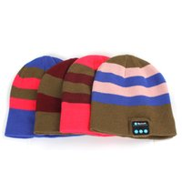 Wholesale Chrismas gift Beanie Bluetooth Stereo Stripe Hat Wireless Headphone Headset with Speakers Mic CPA_731