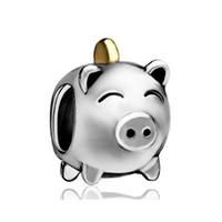 achat en gros de tirelire or-Or et rhodium plaquage mignon Cochon Argent Box Bead Piggy Bank charme Européen Fit Pandora Bracelet