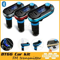 Wholesale Universal Car Bluetooth MP3 Player FM Transmitter Hands free Car Kit Cigarette Lighter with Remote Control Dual USB Charger for Phone PC