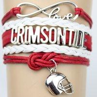athletic wristbands - Infinity Love Alabama Crimson Tide Athletic college Team Bracelet Crimson White Customize Sports Team Cheer wristband