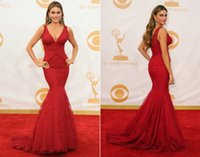 Wholesale Custom Made Cheap Red Carpet V Neck Mermaid With Lace Celebrity Dress Article Formal Evening Gowns For Women Backless Prom Dresses Long