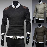 Wholesale 2015 spring new men s long sleeved round neck sweaters spell color fashion designers men outdoor brand pullover M XXL