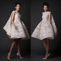 Wholesale 2016 Knee length Wedding Dresses Krikor Jabotian High Neck Sequin Lace Applique Short Wedding Gown