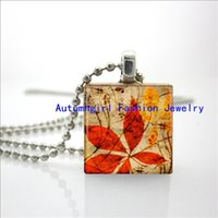 artistic glass tile - 2015 New Wooden Scrabble Tiles Artistic Leaves Necklace Scrabble Art Pendant Glass Dome Jewelry E
