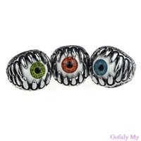 Wholesale 2014 New Amazing Coming Stainless Steel Gothic Skull Dragon Claw Evil Eye Biker Men s Ring Gofuly
