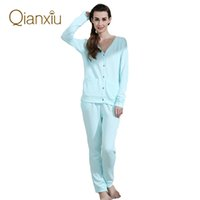 Wholesale Khaki Shirts For Women - Qianxiu Brand Hot Sales Casual Housewear Soild Pajama Set sleepshirt For Women and Men Free Shipping drop shipping