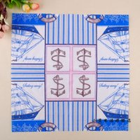 anchor napkins - pieces one New Arrival Vogue New Design Blue Ship Pink Anchor Pattern paper Napkins for restaurant Decorative