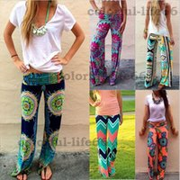 Cheap 2015 Summer Women Pants Casual High Waist Flare Wide Leg Long Pants Palazzo Trousers Plus Size Floral Classic Exuma Pant Preppy