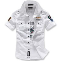 Wholesale summer new men s fashion casual short sleeved shirt soldier shirt embroidered breathable high quality vacation white shirt