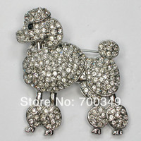 Wholesale Fashion Jewelry Brooches Wholesale12piece Clear Crystal Rhinestone Dog Poodles Brooches Fashion Costume Pin Brooch Jewelry gift C297 A