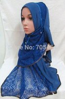 arabic hijab design - tc293 new designs lace cotton muslim long scarf islamic hijab arabic shawl by DHL fast delivery