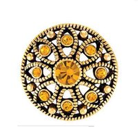 Wholesale 20MM gold mae flower with gold stones snap buttons for snap bracelets