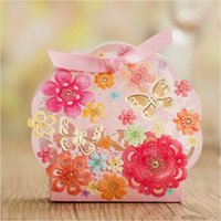 Wholesale Lovely Wedding Favor Boxes with Ribbon Laser Cut Butterfly Wedding Candy Box Casamento Wedding Favors And Gifts Boxes