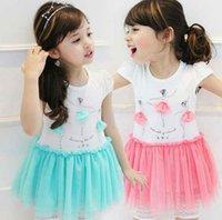 children fashion garment - 2015 New Fashion Summer Cotton Beautifull Dancing Girl Tulle Dress Children Mesh Dress Kids Gauze Dress Garment Pink Blue