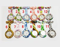 Wholesale Colorful Prints Silicone Nurse Pocket Watches Soft FOB Watches Promotional Gifts MOQ Random Patterns Hot Selling cheaporder