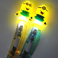 Wholesale 36Pcs Creative Minion Ballpoint Pen Cartoon Kawaii Writing Ball Pen With Light Cute Students Stationery Office School Supplies