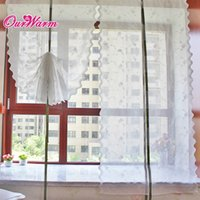 Wholesale White Rose Floral Voile Sheer Curtains Romantic Embroidered Window Curtain Pastoral Style Roman Curtain Size