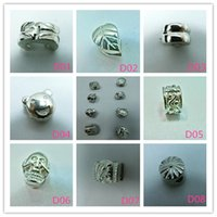 Wholesale 100pcs different kinds Silver plated Metal Clips Lock Stopper European Beads Fit Chain Charm Bracelet Jewelry Findings