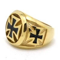 band guarantee - Min Order is Mix Order Very Cool K Gold Cross Biker Ring Mens L Stainless Steel Cool Biker Ring Guarantee