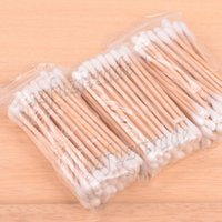Wholesale Double Head Health Cosmetics Makeup Ear Clean Jewelry Cleaner High Quality Wooden Cotton Swabs Stick AIA00381