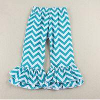 Wholesale Blue Chevron Girls Pants Summer Cotton Girls Ruffle Pants Boutique Girls Double Ruffle Pants Toddler Pants With Ruffle