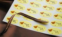 bearings and seals - Yellow Bear quot Thank You quot Sticker Seal label For Handmade Products and Gift Packing x2cm