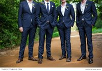 Wholesale Top Selling Men Tuxedo Cheap Navy Grooms Tuxedos Handmade Groomsmen Formal Suits Two Pieces Custom Made One Button Coat Pants