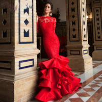 apple bottoms dresses - Gorgeous Red Lace Evening Dresses Latest Amazing Layered Bottom with Crew Neck Long Sleeve Backless Sweep Train Prom Gowns Party Dress