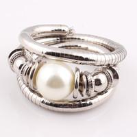 snake bracelet - Christmas Flexible Vintage Style Turquoise Beads Snake Bracelet Trendy Imitation Pearl Bangle Wrap Bracelet B157