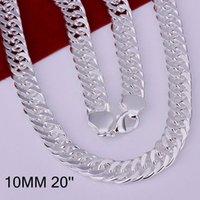 Nueva 20inch 10mm Moda completa Side hombres collar de la joyería de plata 925 Twisted Singapur Cadena Collar de envío libre de DHL