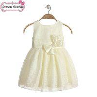 children fashion garment - 2015 kids princess dresses baby girls fashion pearl bow sundress party one piece dress children summer clothing garment gmy