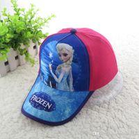 Wholesale 2016 New fashion girl baseball hat frozen elsa children baseball hat girl cartoon cotton cap two color can choose EA2