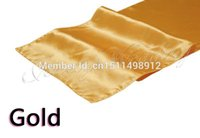 Wholesale New Gold Satin Table Runner quot x Wedding Party Banquet Decorations cm x cm