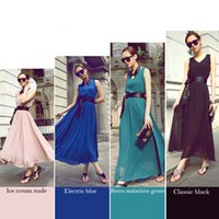 Cheap New Women Full-Length Beach Boho Casual Sundress Evening Chiffon Long Maxi Dress Free shipping and drop shipping HR654