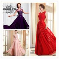Wholesale 2015 New Floor Length Chiffon Long Evening Dress Hand beaded Slim bridesmaid Dress Fashion Lace Party Banquet Wedding Bride Formal Dresse