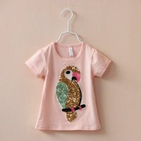 Cheap 2015 baby girl print parrot sequins short tshirts tees kids girls casual short t-shirts girl's fashion summer tops children babies clothing