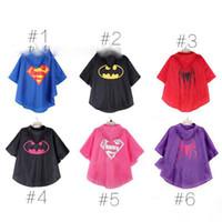 Wholesale 2016 New Kids Rain Coat children Raincoat Rainwear Rainsuit Kids Waterproof Superhero Raincoat ZJ1379
