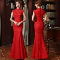 Wholesale 2015 Quality fish tail married cheongsam long design red lace chinese style bride evening dress chinese wedding dress bridal qipao