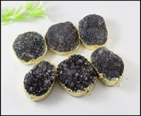 Wholesale 5pcs Nature Drusy Quartz Connector Pendant Beads Gold plated Nature Druzy stone Connector in Black color making Bracelet Jewelry Findings